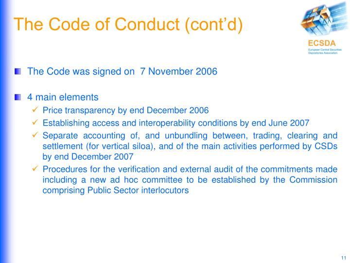 The Code of Conduct (cont'd)