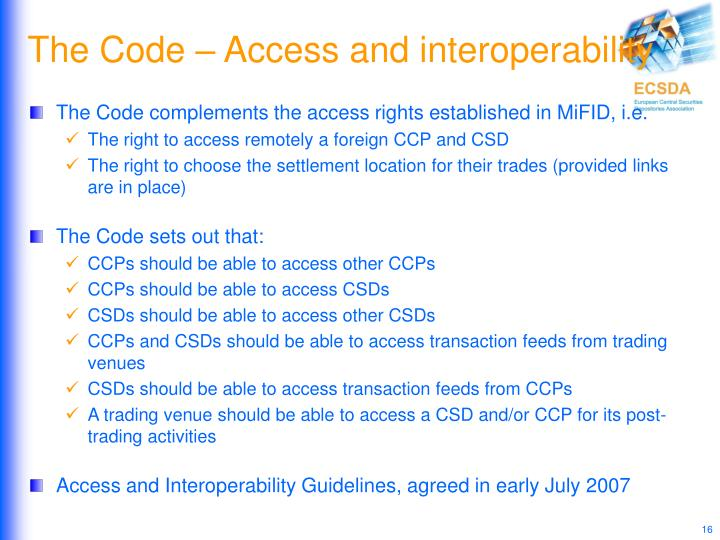 The Code – Access and interoperability