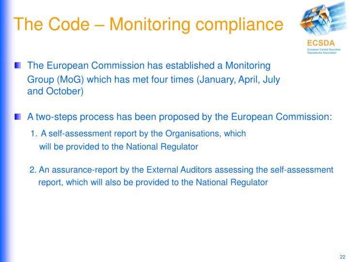 The Code – Monitoring compliance