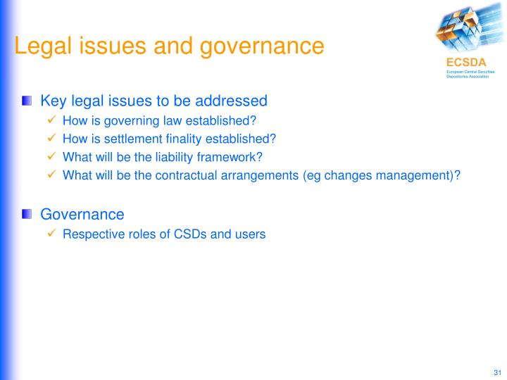 Legal issues and governance