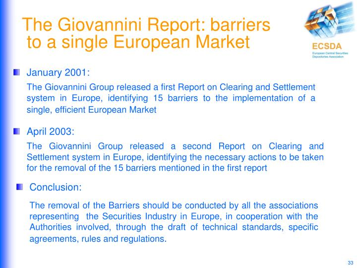 The Giovannini Report: barriers
