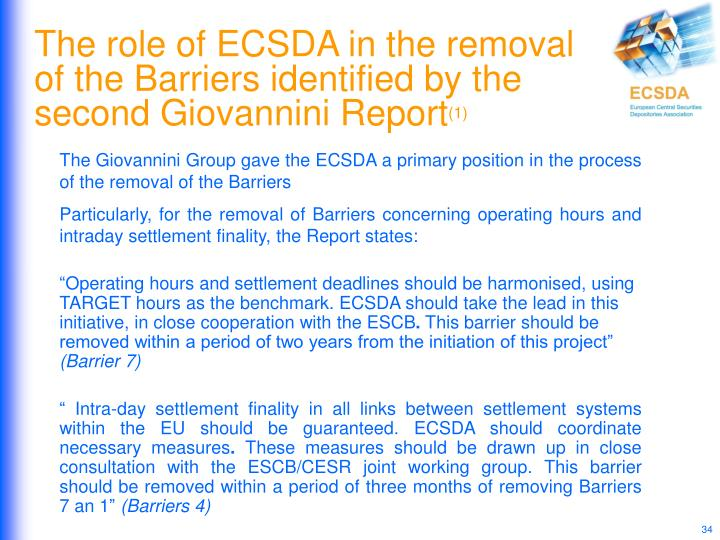 The role of ECSDA in the removal of the Barriers identified by the