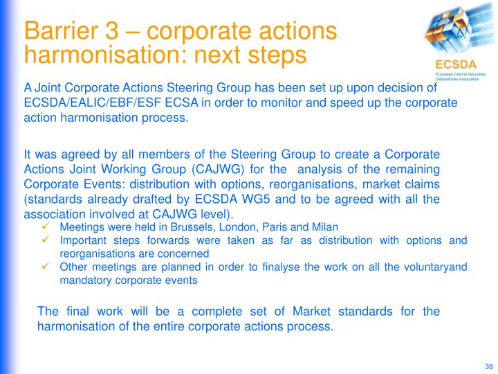 Barrier 3 – corporate actions harmonisation: next steps