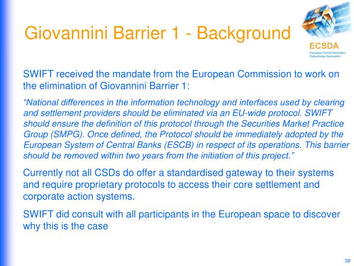 Giovannini Barrier 1 - Background