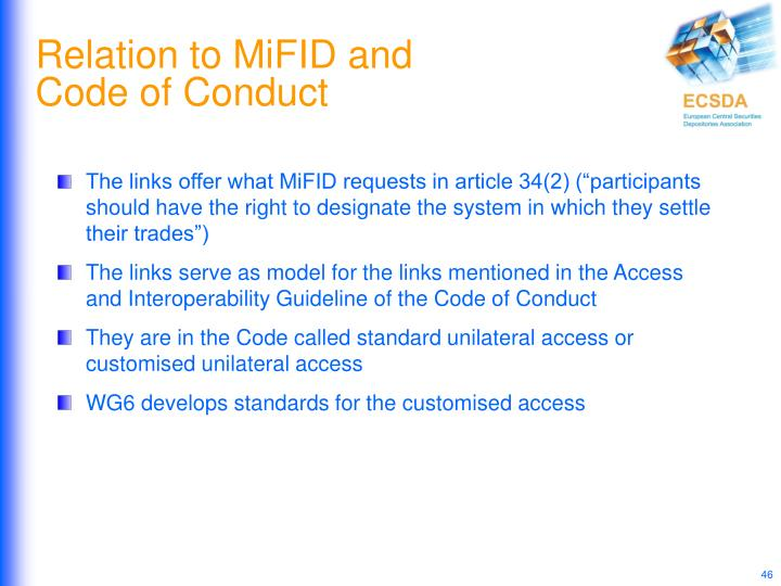 Relation to MiFID and