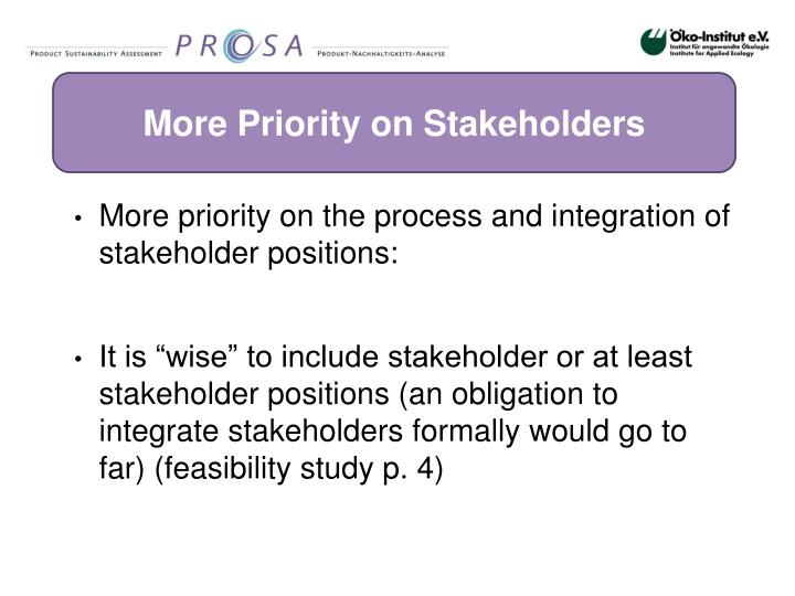More Priority on Stakeholders
