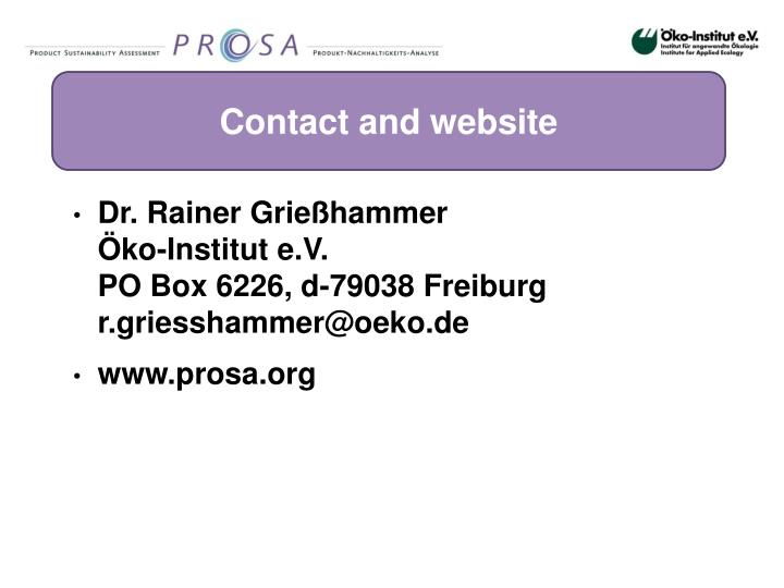 Contact and website