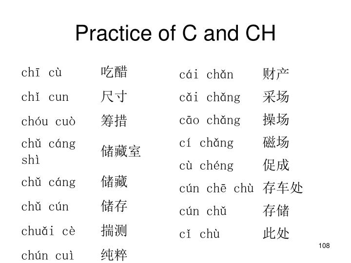 Practice of C and CH
