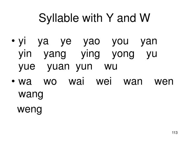 Syllable with Y and W