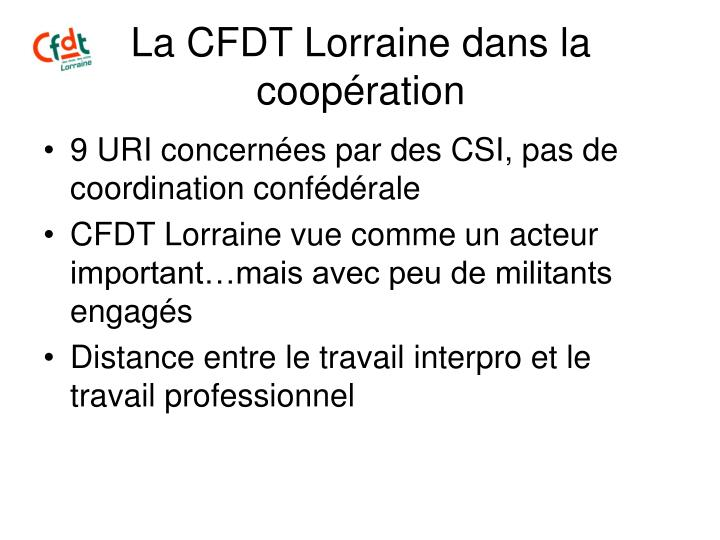 La CFDT Lorraine dans la coopération