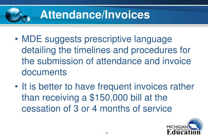 Attendance/Invoices