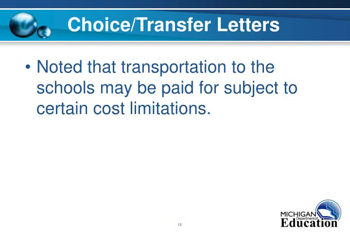 Choice/Transfer Letters