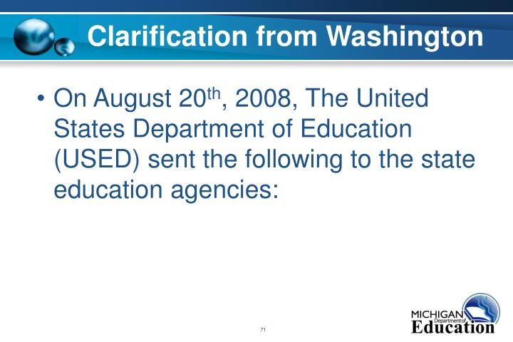 Clarification from Washington