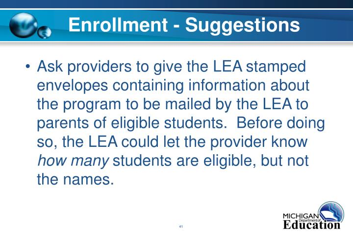 Enrollment - Suggestions