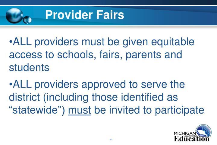 Provider Fairs