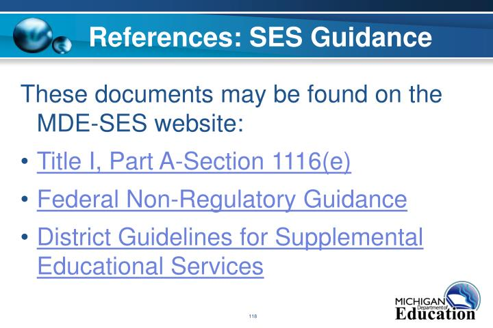 References: SES Guidance