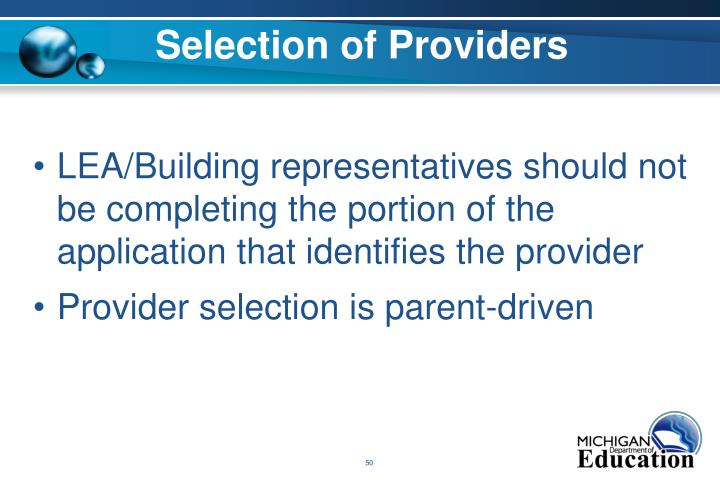 Selection of Providers