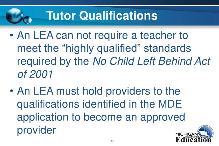 Tutor Qualifications