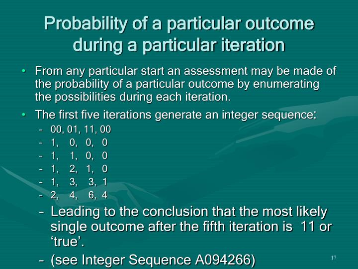 Probability of a particular outcome during a particular iteration