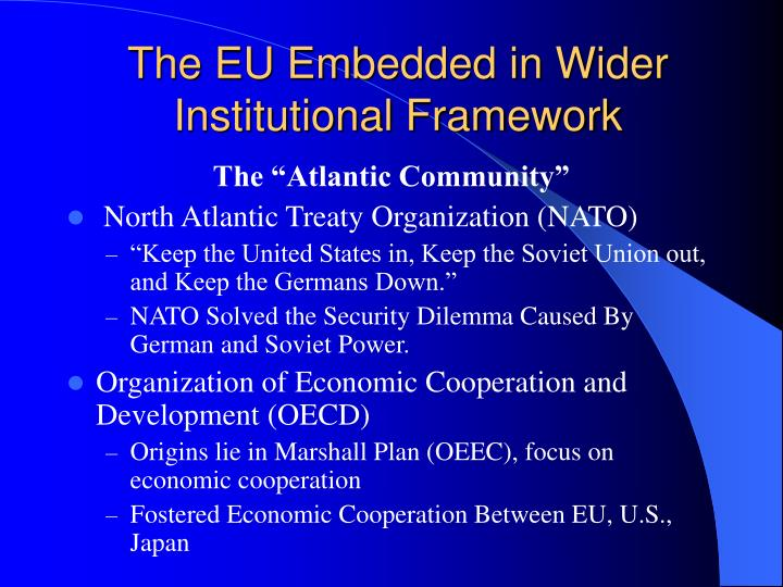 The EU Embedded in Wider Institutional Framework