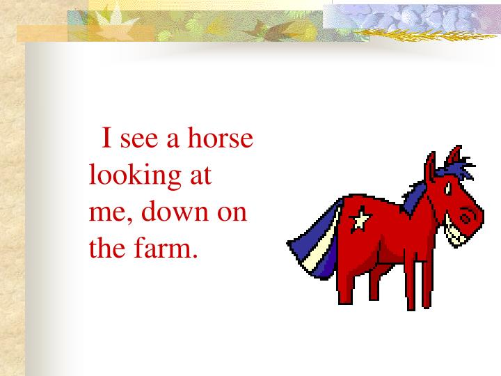 I see a horse looking at me, down on the farm.