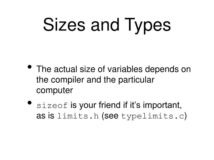 Sizes and Types
