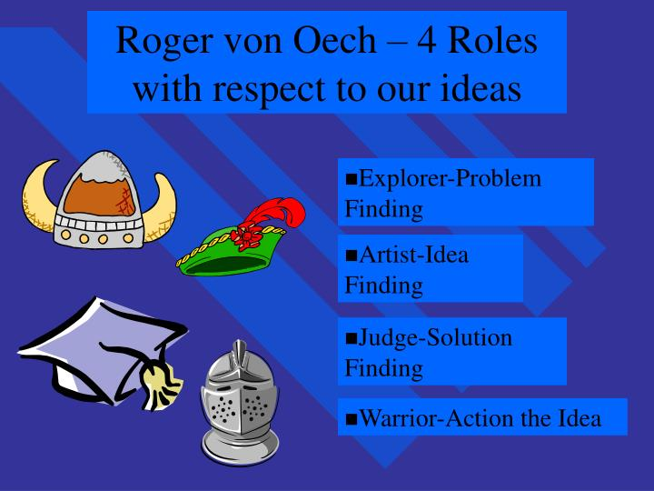 Roger von Oech – 4 Roles with respect to our ideas