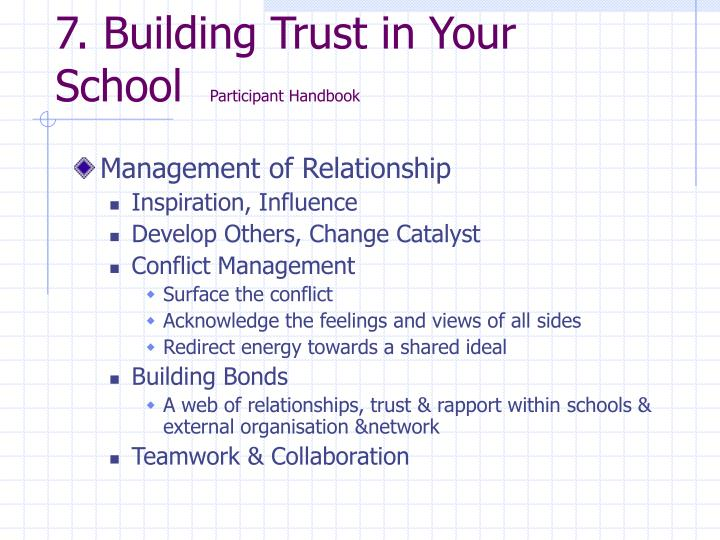7. Building Trust in Your School