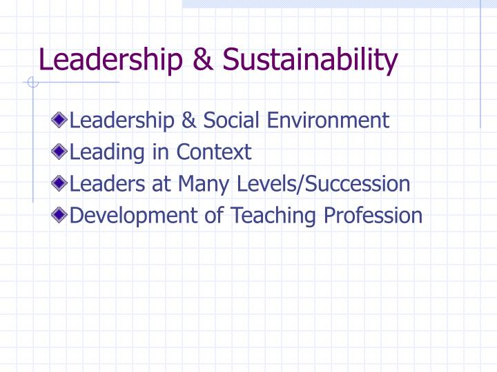Leadership & Sustainability