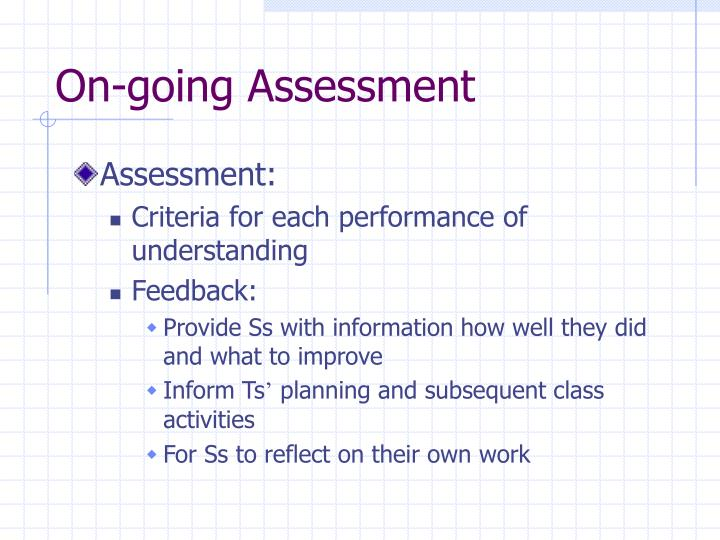 On-going Assessment