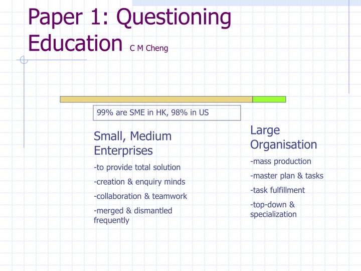 Paper 1: Questioning Education