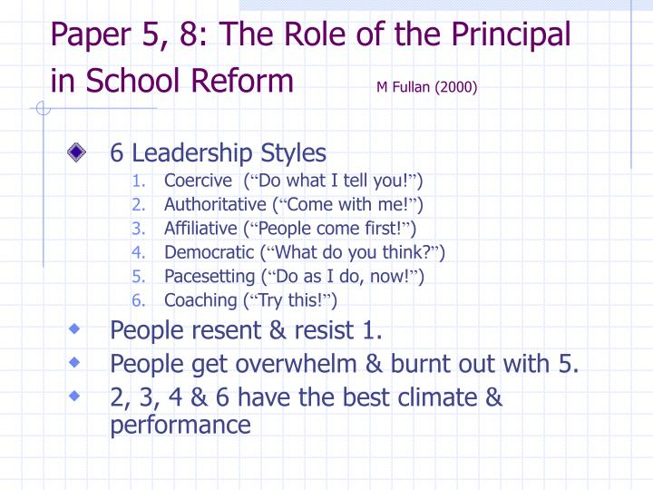 Paper 5, 8: The Role of the Principal in School Reform