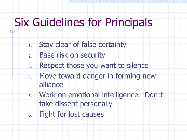 Six Guidelines for Principals