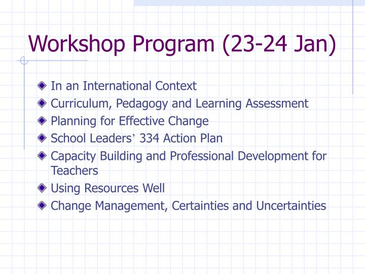 Workshop Program (23-24 Jan)