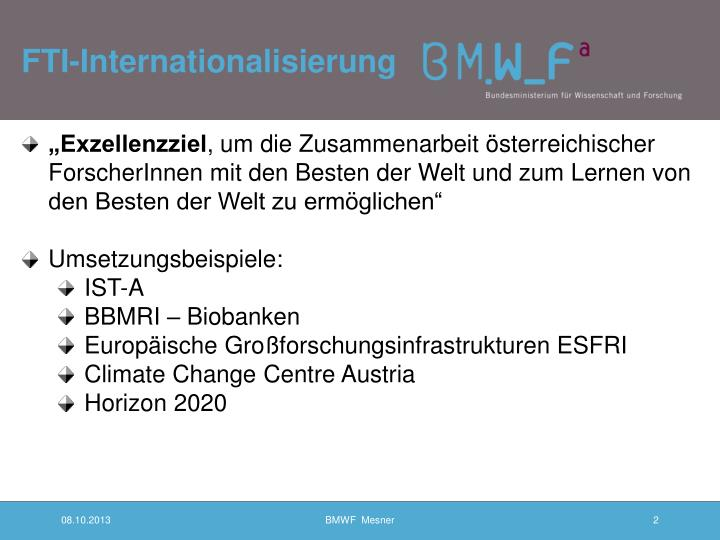 Fti internationalisierung
