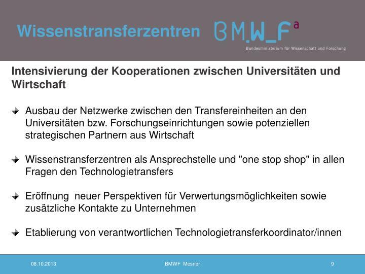 Intensivierung der Kooperationen zwischen Universitäten und Wirtschaft