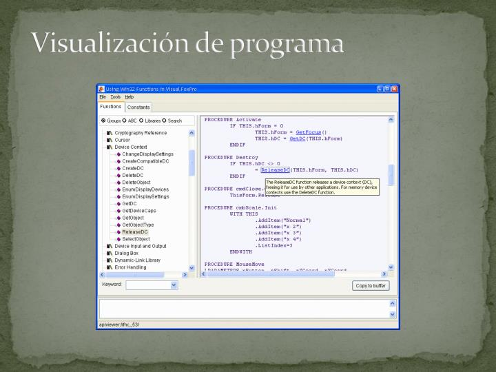 Visualización de programa