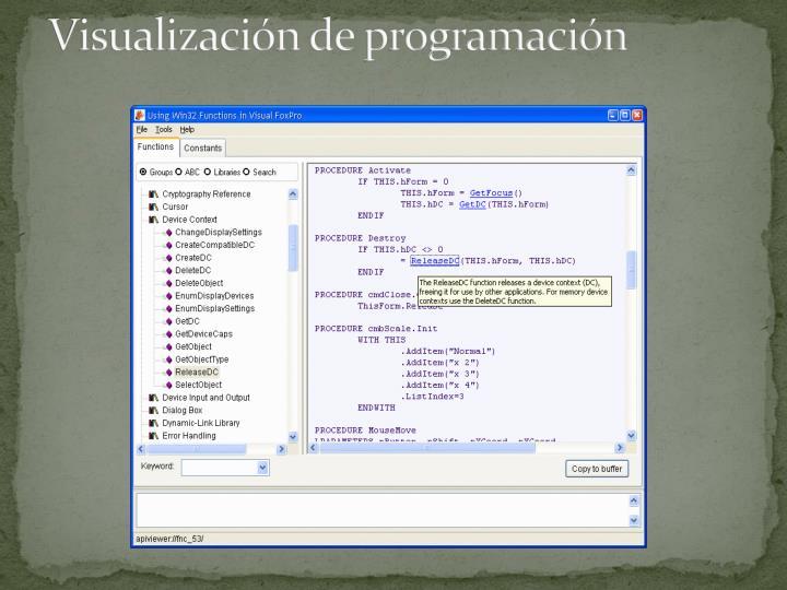 Visualización de programación