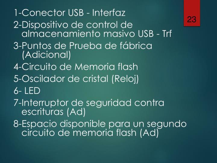 1-Conector USB - Interfaz