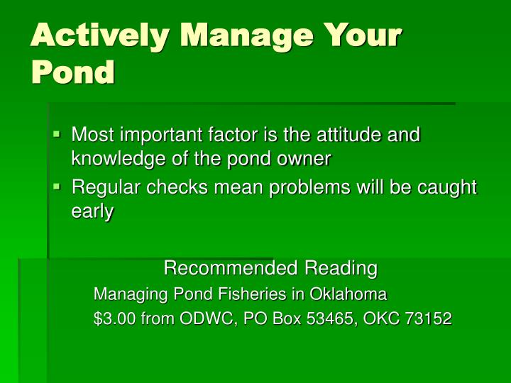 Actively Manage Your Pond