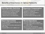 benefits of electronics in optical networks