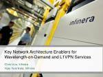 key network architecture enablers for wavelength on demand and l1vpn services