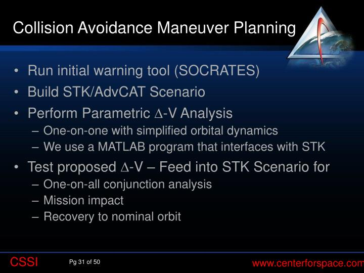 Collision Avoidance Maneuver Planning