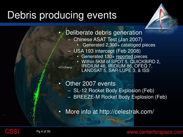 Debris producing events