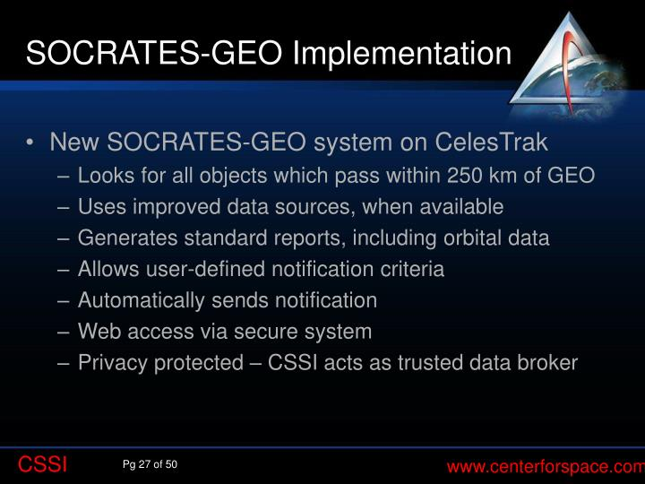 SOCRATES-GEO Implementation