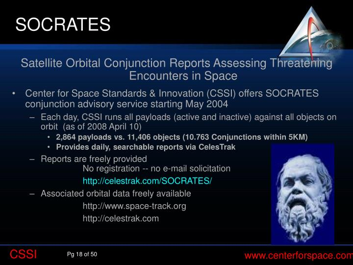 Satellite Orbital Conjunction Reports Assessing Threatening Encounters in Space