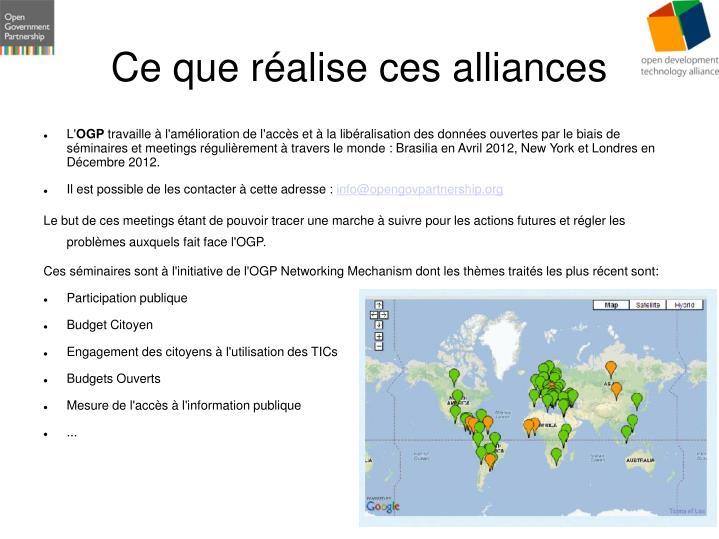 Ce que réalise ces alliances