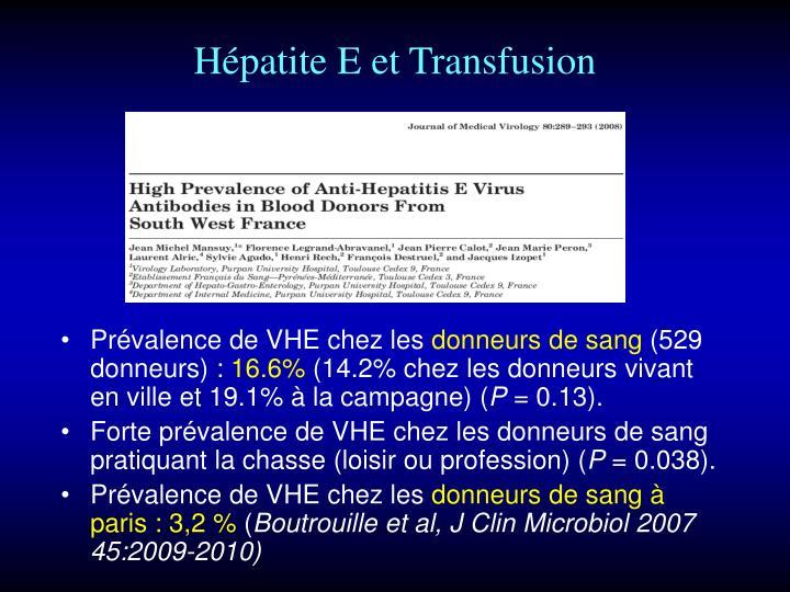 Hépatite E et Transfusion