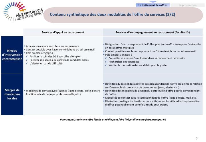 Contenu synthétique des deux modalités de l'offre de services (2/2)