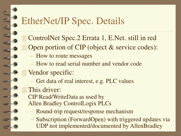 Ethernet ip spec details